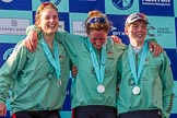 The Boat Race season 2017 -  The Cancer Research Women's Boat Race: CUWBC's 7 Myriam Goudet, stroke Melissa Wilson, and cox Matthew Holland at the Boat Race price giving. River Thames between Putney Bridge and Mortlake, London SW15,  United Kingdom, on 02 April 2017 at 17:11, image #225