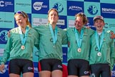 The Boat Race season 2017 -  The Cancer Research Women's Boat Race: CUWBC's 6 Alice White, 7 Myriam Goudet, stroke Melissa Wilson, and cox Matthew Holland at the Boat Race price giving. River Thames between Putney Bridge and Mortlake, London SW15,  United Kingdom, on 02 April 2017 at 17:11, image #226