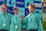 The Boat Race season 2017 -  The Cancer Research Women's Boat Race: CUWBC;s stroke Melissa Wilson, cox Matthew Holland, and 3 seat Clair Lambe with their medals at the price giving. River Thames between Putney Bridge and Mortlake, London SW15,  United Kingdom, on 02 April 2017 at 17:11, image #228