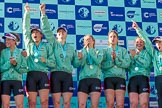 The Boat Race season 2017 -  The Cancer Research Women's Boat Race: A jubilant CUWBC crew at the price giving. River Thames between Putney Bridge and Mortlake, London SW15,  United Kingdom, on 02 April 2017 at 17:11, image #229