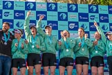 The Boat Race season 2017 -  The Cancer Research Women's Boat Race: A jubilant CUWBC crew at the price giving, on the left their head coach Rob Barker. River Thames between Putney Bridge and Mortlake, London SW15,  United Kingdom, on 02 April 2017 at 17:11, image #230