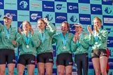 The Boat Race season 2017 -  The Cancer Research Women's Boat Race: A jubilant CUWBC crew at the price giving. River Thames between Putney Bridge and Mortlake, London SW15,  United Kingdom, on 02 April 2017 at 17:11, image #232