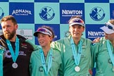 The Boat Race season 2017 -  The Cancer Research Women's Boat Race: CUWBC with their medals at the price giving ceremony, here head coach Rob Barker, 2 seat Imogen Grant,. River Thames between Putney Bridge and Mortlake, London SW15,  United Kingdom, on 02 April 2017 at 17:12, image #243