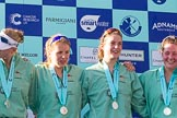The Boat Race season 2017 -  The Cancer Research Women's Boat Race: CUWBC at the price giving - 5 seat Holly Hill, 6 seat Alice White, 7 seat Myriam Goudet, and stroke Melissa Wilson. River Thames between Putney Bridge and Mortlake, London SW15,  United Kingdom, on 02 April 2017 at 17:12, image #244