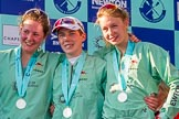 The Boat Race season 2017 -  The Cancer Research Women's Boat Race: CUWBC at the price giving - stroke Melissa Wilson, and cox Matthew Holland, and 4 seat Anna Dawson. River Thames between Putney Bridge and Mortlake, London SW15,  United Kingdom, on 02 April 2017 at 17:12, image #246