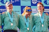 The Boat Race season 2017 -  The Cancer Research Women's Boat Race: CUWBC at the price giving - 5 seat Holly Hill, 6 seat Alice White, 7 seat Myriam Goudet. River Thames between Putney Bridge and Mortlake, London SW15,  United Kingdom, on 02 April 2017 at 17:12, image #247