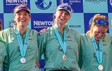 The Boat Race season 2017 -  The Cancer Research Women's Boat Race: CUWBC at the price giving - 3 seat Claire Lambe, 5 seat Holly Hill, 6 seat Alice White. River Thames between Putney Bridge and Mortlake, London SW15,  United Kingdom, on 02 April 2017 at 17:12, image #248