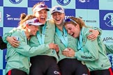 The Boat Race season 2017 -  The Cancer Research Women's Boat Race: CUWBC at the price giving - 2 seat Imogen Grant, 3 seat Claire Lambe, 5 seat Holly Hill, 6 seat Alice White. River Thames between Putney Bridge and Mortlake, London SW15,  United Kingdom, on 02 April 2017 at 17:13, image #253