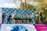 The Boat Race season 2017 -  The Cancer Research Women's Boat Race: CUWBC at the price givinG, with the bottles of Champagne, and ready to get wet. River Thames between Putney Bridge and Mortlake, London SW15,  United Kingdom, on 02 April 2017 at 17:13, image #254