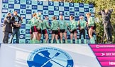 The Boat Race season 2017 -  The Cancer Research Women's Boat Race: CUWBC about to spray the Champagne at the price giving. River Thames between Putney Bridge and Mortlake, London SW15,  United Kingdom, on 02 April 2017 at 17:13, image #255
