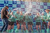 The Boat Race season 2017 -  The Cancer Research Women's Boat Race: CUWBC covered in spray (Cahmpagne, not Thames water) at the price giving. River Thames between Putney Bridge and Mortlake, London SW15,  United Kingdom, on 02 April 2017 at 17:13, image #257