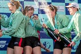 The Boat Race season 2017 -  The Cancer Research Women's Boat Race: CUWBC spraying the Champagne at the price giving - 6 seat Alice White, 7 seat Myriam Goudet, stroke Melissa Wilson, and cox Matthew Holland. River Thames between Putney Bridge and Mortlake, London SW15,  United Kingdom, on 02 April 2017 at 17:13, image #259
