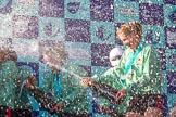 The Boat Race season 2017 -  The Cancer Research Women's Boat Race: CUWBC covered in spray (Cahmpagne, not Thames water) at the price giving. River Thames between Putney Bridge and Mortlake, London SW15,  United Kingdom, on 02 April 2017 at 17:13, image #265