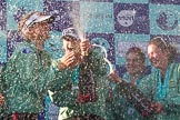 The Boat Race season 2017 -  The Cancer Research Women's Boat Race: CUWBC covered in spray (Cahmpagne, not Thames water) at the price giving. River Thames between Putney Bridge and Mortlake, London SW15,  United Kingdom, on 02 April 2017 at 17:13, image #269