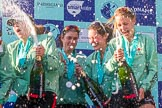 The Boat Race season 2017 -  The Cancer Research Women's Boat Race: CUWBC spraying the Champagne at the price giving. River Thames between Putney Bridge and Mortlake, London SW15,  United Kingdom, on 02 April 2017 at 17:13, image #273