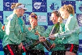 The Boat Race season 2017 -  The Cancer Research Women's Boat Race: CUWBC behind a lot of sprayed Champagne, on the right stroke Melissa Wilson and 4 Anna Dawson. River Thames between Putney Bridge and Mortlake, London SW15,  United Kingdom, on 02 April 2017 at 17:13, image #276