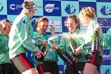 The Boat Race season 2017 -  The Cancer Research Women's Boat Race: CUWBC spraying the Champagne at the price giving. River Thames between Putney Bridge and Mortlake, London SW15,  United Kingdom, on 02 April 2017 at 17:13, image #277