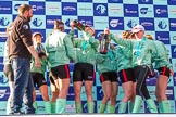 The Boat Race season 2017 -  The Cancer Research Women's Boat Race: CUWBC at the price giving, after spraying four bottles of Chapel Down Champagne. River Thames between Putney Bridge and Mortlake, London SW15,  United Kingdom, on 02 April 2017 at 17:13, image #278