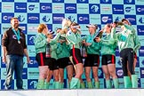 The Boat Race season 2017 -  The Cancer Research Women's Boat Race: CUWBC after the Chanpange spraying at the price giving, with the Women's Boat Race trophy. On the left head coach Rob Barker. River Thames between Putney Bridge and Mortlake, London SW15,  United Kingdom, on 02 April 2017 at 17:13, image #289