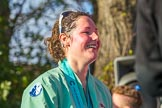 The Boat Race season 2017 -  The Cancer Research Women's Boat Race: CUWBC stroke Melissa Wilson, with lots of Champagne, leaving the price giving. River Thames between Putney Bridge and Mortlake, London SW15,  United Kingdom, on 02 April 2017 at 17:14, image #303