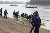 "The Boat Race season 2018 - Women's Boat Race Trial Eights (OUWBC, Oxford): ""Coursing River"" getting ready for the race. River Thames between Putney Bridge and Mortlake, London SW15,  United Kingdom, on 21 January 2018 at 13:47, image #1"