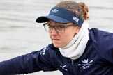 "The Boat Race season 2018 - Women's Boat Race Trial Eights (OUWBC, Oxford): Close-up of ""Coursing River"" 6 seat Katherine Erickson. River Thames between Putney Bridge and Mortlake, London SW15,  United Kingdom, on 21 January 2018 at 13:48, image #6"
