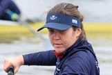 """The Boat Race season 2018 - Women's Boat Race Trial Eights (OUWBC, Oxford): Close-up of """"Great Typhoon"""" 5 seat Olivia Pryer. River Thames between Putney Bridge and Mortlake, London SW15,  United Kingdom, on 21 January 2018 at 13:48, image #14"""