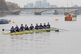"The Boat Race season 2018 - Women's Boat Race Trial Eights (OUWBC, Oxford): ""Coursing River"" on the way to Putney Bridge before the race: Cox Ellie Shearer, stroke Beth Bridgman, 7 Juliette Perry, 6 Katherine Erickson, 5 Morgan McGovern, 4 Anna Murgatroyd, 3 Stefanie Zekoll, 2 Rachel Anderson, bow Sarah Payne-Riches. River Thames between Putney Bridge and Mortlake, London SW15,  United Kingdom, on 21 January 2018 at 13:49, image #20"