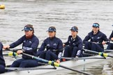 "The Boat Race season 2018 - Women's Boat Race Trial Eights (OUWBC, Oxford): ""Great Typhoon"" on the way to Putney Bridge, before the race: 5 Olivia Pryer, 4 Linda Van Bijsterveldt, 3 Madeline Goss, 2 Laura Depner. River Thames between Putney Bridge and Mortlake, London SW15,  United Kingdom, on 21 January 2018 at 13:49, image #22"