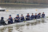 "The Boat Race season 2018 - Women's Boat Race Trial Eights (OUWBC, Oxford): ""Great Typhoon"" on the way to Putney Bridge, before the race: Cox Jessica Buck, stroke Alice Roberts,  7 Abigail Killen, 6 Sara Kushma, 5 Olivia Pryer, 4 Linda Van Bijsterveldt, 3 Madeline Goss, 2 Laura Depner, bow Matilda Edwards. River Thames between Putney Bridge and Mortlake, London SW15,  United Kingdom, on 21 January 2018 at 13:49, image #23"