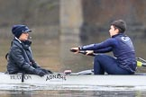 "The Boat Race season 2018 - Women's Boat Race Trial Eights (OUWBC, Oxford): ""Great Typhoon""in the rain, here cox Jessica Buck and stroke Alice Roberts. River Thames between Putney Bridge and Mortlake, London SW15,  United Kingdom, on 21 January 2018 at 14:19, image #24"