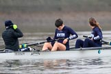 "The Boat Race season 2018 - Women's Boat Race Trial Eights (OUWBC, Oxford): The ""Great Typhoon"" crew getting ready for the race in the rain - cox Jessica Buck, stroke Alice Roberts,  7 Abigail Killen. River Thames between Putney Bridge and Mortlake, London SW15,  United Kingdom, on 21 January 2018 at 14:20, image #26"