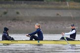 "The Boat Race season 2018 - Women's Boat Race Trial Eights (OUWBC, Oxford): Before the race in the rain:  ""Coursing River"" with cox Ellie Shearer, stroke Beth Bridgman, 7 Juliette Perry. River Thames between Putney Bridge and Mortlake, London SW15,  United Kingdom, on 21 January 2018 at 14:20, image #28"