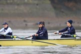 "The Boat Race season 2018 - Women's Boat Race Trial Eights (OUWBC, Oxford): Before the race in the rain:  ""Coursing River"" with 3 Stefanie Zekoll, 2 Rachel Anderson, bow Sarah Payne-Riches. River Thames between Putney Bridge and Mortlake, London SW15,  United Kingdom, on 21 January 2018 at 14:20, image #31"