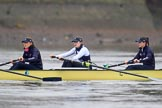 "The Boat Race season 2018 - Women's Boat Race Trial Eights (OUWBC, Oxford): Before the race in the rain:  ""Coursing River"" with 4 Anna Murgatroyd, 3 Stefanie Zekoll, 2 Rachel Anderson. River Thames between Putney Bridge and Mortlake, London SW15,  United Kingdom, on 21 January 2018 at 14:20, image #30"