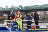 "The Boat Race season 2018 - Women's Boat Race Trial Eights (OUWBC, Oxford): Trial Eights umpire Sir Matthew Pinsent on board of the filming catamaran ""Korat"". River Thames between Putney Bridge and Mortlake, London SW15,  United Kingdom, on 21 January 2018 at 14:22, image #34"