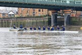 "The Boat Race season 2018 - Women's Boat Race Trial Eights (OUWBC, Oxford): ""Great Typhoon"" with their support crew in the tin boat at Fulham Railway Bridge before the race. River Thames between Putney Bridge and Mortlake, London SW15,  United Kingdom, on 21 January 2018 at 14:22, image #35"