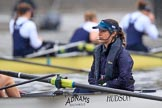 "The Boat Race season 2018 - Women's Boat Race Trial Eights (OUWBC, Oxford): ""Great Typhoon"" cox Jessica Buck before the race. River Thames between Putney Bridge and Mortlake, London SW15,  United Kingdom, on 21 January 2018 at 14:24, image #37"