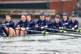 "The Boat Race season 2018 - Women's Boat Race Trial Eights (OUWBC, Oxford): Rowing towards the start line in the rain - ""Great Typhoon"" with cox Jessica Buck, stroke Alice Roberts,  7 Abigail Killen, 6 Sara Kushma, 5 Olivia Pryer, 4 Linda Van Bijsterveldt, 3 Madeline Goss, 2 Laura Depner, bow Matilda Edwards. River Thames between Putney Bridge and Mortlake, London SW15,  United Kingdom, on 21 January 2018 at 14:24, image #38"