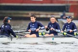 """The Boat Race season 2018 - Women's Boat Race Trial Eights (OUWBC, Oxford): Rowing towards the start line in the rain - """"Great Typhoon"""" with cox Jessica Buck, stroke Alice Roberts,  7 Abigail Killen, 6 Sara Kushma, 5 Olivia Pryer. River Thames between Putney Bridge and Mortlake, London SW15,  United Kingdom, on 21 January 2018 at 14:24, image #39"""