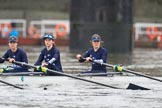 "The Boat Race season 2018 - Women's Boat Race Trial Eights (OUWBC, Oxford): Rowing towards the start line in the rain - ""Great Typhoon"" with 3 Madeline Goss, 2 Laura Depner, bow Matilda Edwards. River Thames between Putney Bridge and Mortlake, London SW15,  United Kingdom, on 21 January 2018 at 14:24, image #41"