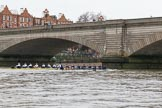 "The Boat Race season 2018 - Women's Boat Race Trial Eights (OUWBC, Oxford): ""Great Typhoon"" and ""Coursing River"" about to pass Putney Bridge on the way to the start line. River Thames between Putney Bridge and Mortlake, London SW15,  United Kingdom, on 21 January 2018 at 14:26, image #43"