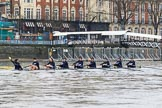 "The Boat Race season 2018 - Women's Boat Race Trial Eights (OUWBC, Oxford): Getting ready for the start of the race - ""Great Typhoon"" with cox Jessica Buck, stroke Alice Roberts,  7 Abigail Killen, 6 Sara Kushma, 5 Olivia Pryer, 4 Linda Van Bijsterveldt, 3 Madeline Goss, 2 Laura Depner, bow Matilda Edwards. River Thames between Putney Bridge and Mortlake, London SW15,  United Kingdom, on 21 January 2018 at 14:26, image #44"