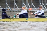 "The Boat Race season 2018 - Women's Boat Race Trial Eights (OUWBC, Oxford): ""Coursing River"" waiting for the race to be started - cox Ellie Shearer, stroke Beth Bridgman, 7 Juliette Perry. River Thames between Putney Bridge and Mortlake, London SW15,  United Kingdom, on 21 January 2018 at 14:27, image #47"
