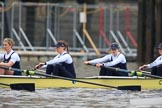 "The Boat Race season 2018 - Women's Boat Race Trial Eights (OUWBC, Oxford): ""Coursing River"" - 5 Morgan McGovern, 4 Anna Murgatroyd, 3 Stefanie Zekoll, 2 Rachel Anderson. River Thames between Putney Bridge and Mortlake, London SW15,  United Kingdom, on 21 January 2018 at 14:27, image #49"