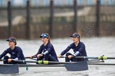 "The Boat Race season 2018 - Women's Boat Race Trial Eights (OUWBC, Oxford): ""Great Typhoon"" , here 3 Madeline Goss, 2 Laura Depner, bow Matilda Edwards. River Thames between Putney Bridge and Mortlake, London SW15,  United Kingdom, on 21 January 2018 at 14:27, image #51"