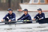 "The Boat Race season 2018 - Women's Boat Race Trial Eights (OUWBC, Oxford): ""Great Typhoon"", here  5 Olivia Pryer, 4 Linda Van Bijsterveldt, 3 Madeline Goss. River Thames between Putney Bridge and Mortlake, London SW15,  United Kingdom, on 21 January 2018 at 14:27, image #52"