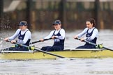 "The Boat Race season 2018 - Women's Boat Race Trial Eights (OUWBC, Oxford): ""Coursing River"" seconds after the race has been started - 3 Stefanie Zekoll, 2 Rachel Anderson, bow Sarah Payne-Riches. River Thames between Putney Bridge and Mortlake, London SW15,  United Kingdom, on 21 January 2018 at 14:27, image #53"
