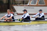 "The Boat Race season 2018 - Women's Boat Race Trial Eights (OUWBC, Oxford): ""Coursing River"" seconds after the race has been started - 5 Morgan McGovern, 4 Anna Murgatroyd, 3 Stefanie Zekoll. River Thames between Putney Bridge and Mortlake, London SW15,  United Kingdom, on 21 January 2018 at 14:27, image #54"