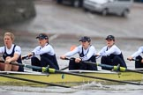 "The Boat Race season 2018 - Women's Boat Race Trial Eights (OUWBC, Oxford): ""Coursing River"" - 5 Morgan McGovern, 4 Anna Murgatroyd, 3 Stefanie Zekoll, 2 Rachel Anderson, bow Sarah Payne-Riches. River Thames between Putney Bridge and Mortlake, London SW15,  United Kingdom, on 21 January 2018 at 14:28, image #59"
